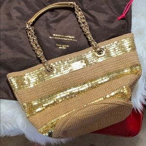 KATE SPADE Point Breeze Straw and Sequin Bag